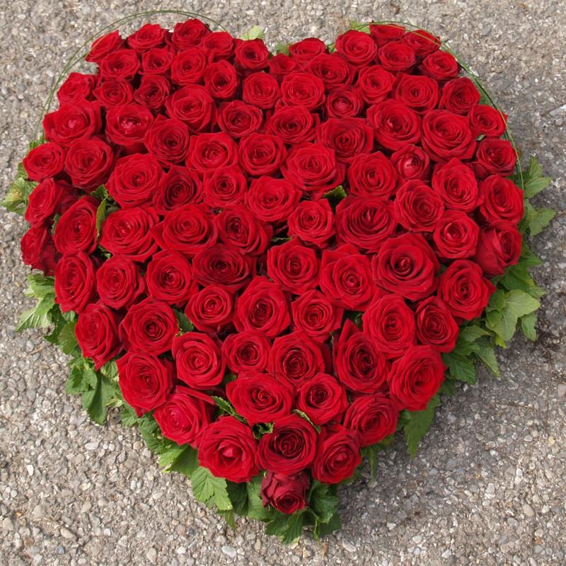 Grand c ur de roses rouges floradeuil for Bouquet de fleurs coeur