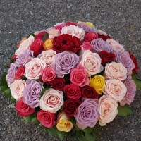 Coussin deuil de roses multicolores