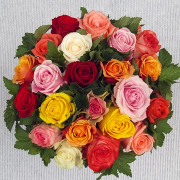 Bouquet deuil de roses multicolores