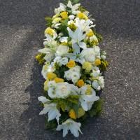 Raquette funéraire blanche et jaune