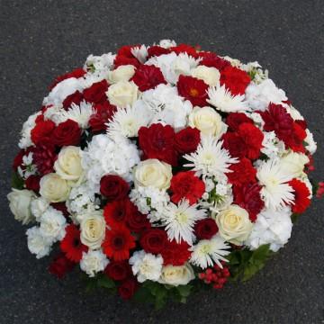 Coussin funéraire rouge et blanc