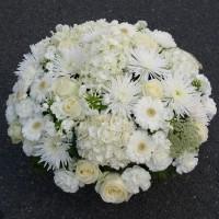Coussin fleurs blanches enterrement